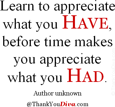 Learn to appreciate what you have, before time makes you appreciate what you had. � Author unknown